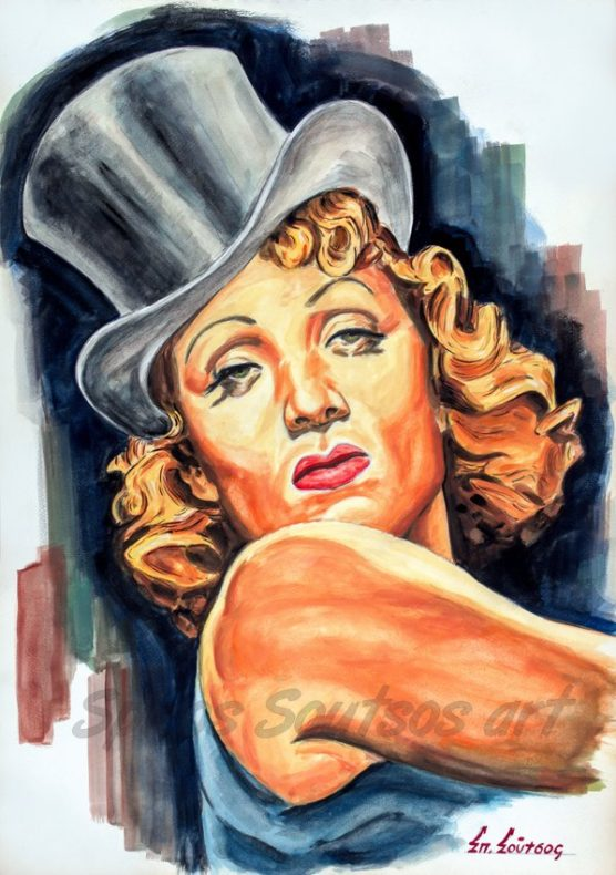 Marlene_Dietrich_portrait_painting_Blaue_Engel_Blue_Angel_movie_poster