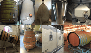 An assortment of the unique fermentation vessels used at various Bordeaux estates.