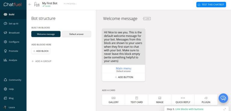 Como configurar bots no messenger 2