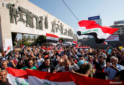 Iraqi demonstrators take part at ongoing anti-government protests at Tahrir Square in Baghdad, Iraq November 2, 2019. REUTERS…
