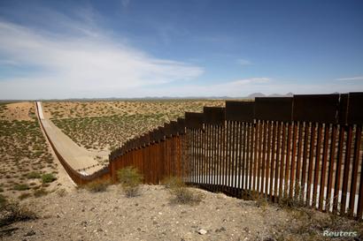 New bollard-style U.S.-Mexico border fencing is seen in Santa Teresa, New Mexico, U.S