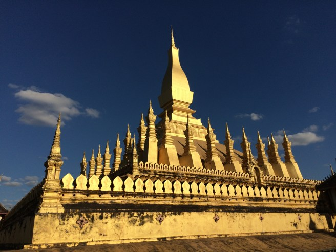 Even with dramatic lighting, though, the national icon of Laos can't hold a candle to the massive gold-clad stupa in Yangon...