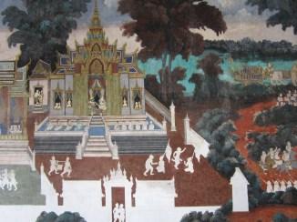 Ramayana mural, undergoing restoration.