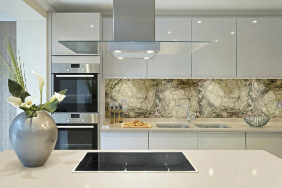White Kitchen Marble Splashback