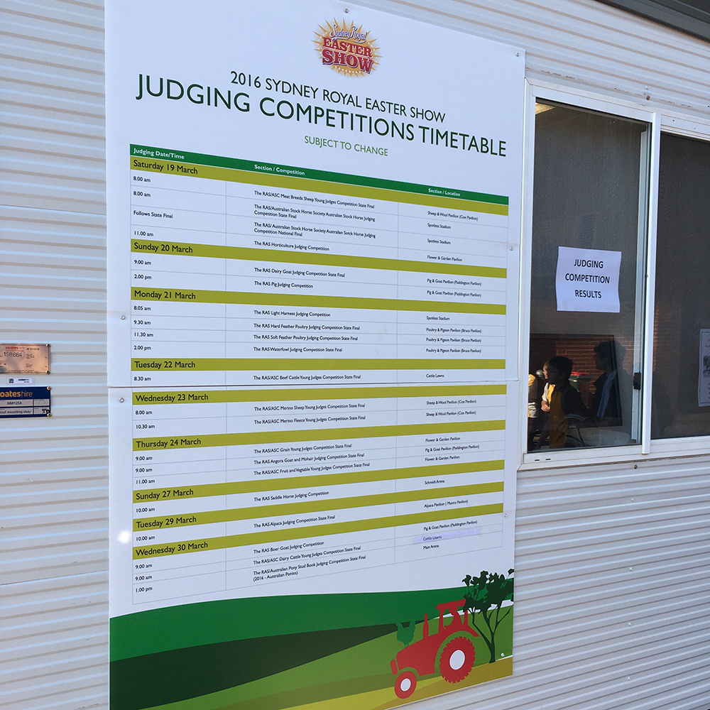 Judging Competitions Time Table