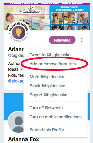 Step 8 for creating a Twitter list: Click.