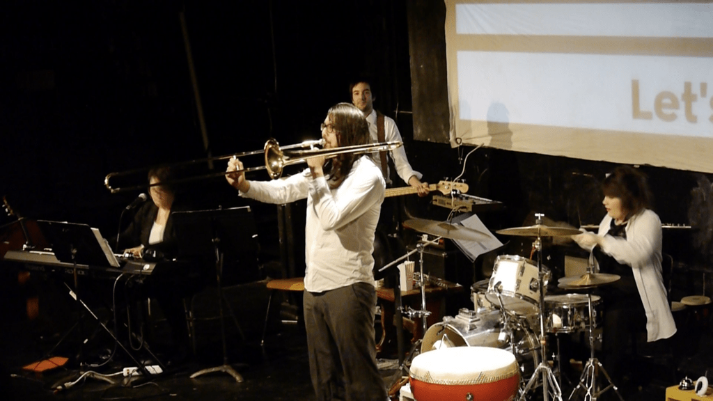 Man playing trombone.