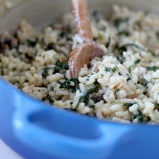 Fine dining à la home: Mushroom and spinach risotto