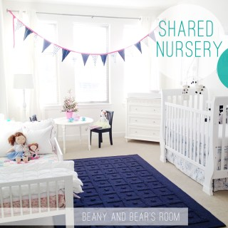 Boy and girl shared nursery: Blue + pink = happy