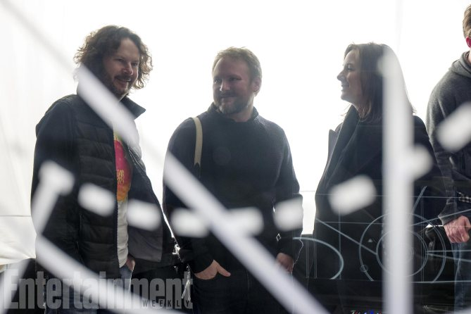 L to R: Producer Ram Bergman, Director Rian Johnson, and Producer Kathleen Kennedy on set