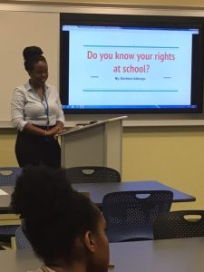 Darlene Aderoju (Howard University, DC), a 2016-17 Active Voice fellow, conducted outreach to DC high school students about their rights at school.