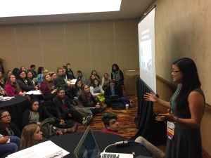 """2016-17 Fellow Sophie Gordon (Ball State University, IN) leading an Active Voice """"listening session"""" in November 2016."""