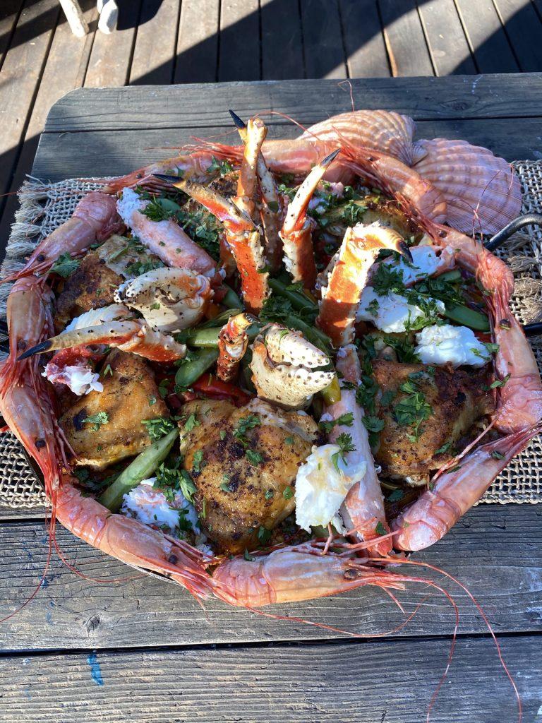 Paella, master paella recipe, spot prawns, littleneck clams, saffron, Spanish saffron, mussels, chicken thighs, bomba rice, sweet peppers, olives, capers, artichoke hearts, Spanish olives, Alaska King Crab legs, fresh sugar snap peas, Alaska King Crab meat