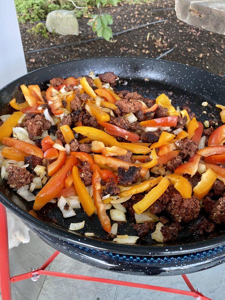 Paella, master paella recipe, chorizo sausage, sweet peppers, onions, splendid paella