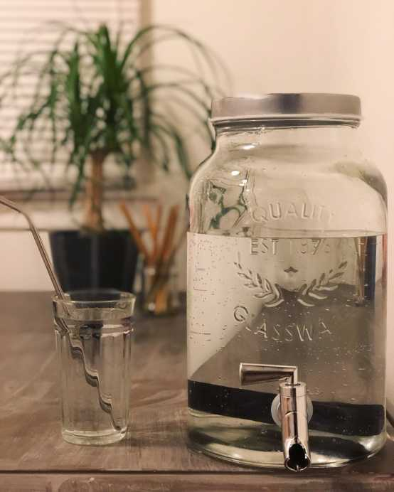 Charcoal Water Filter in a Glass Jar