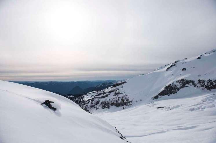 "David ""Splitstoke"" Benton. Mount Rainier, February 2015, just a few weeks before he nearly lost his life to a Traumatic Brain Injury. Photo: Paul Stanley"