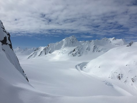 Looking back towards base camp from Tomahawk. Camp is barely visible on the left side of the photo. May 2015