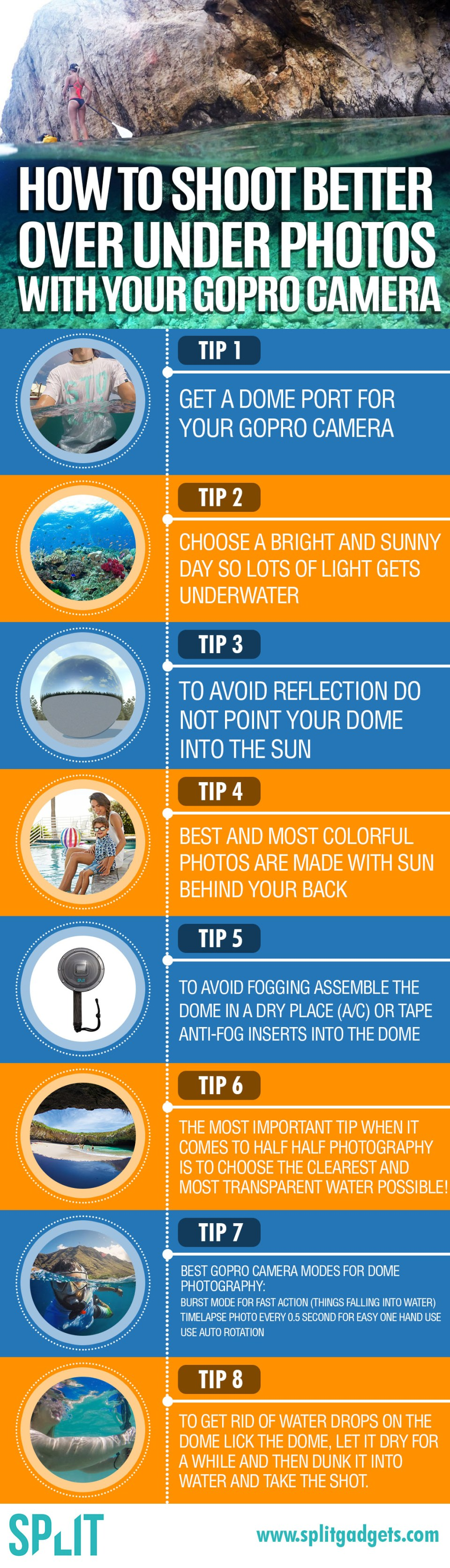 An infographic with tips on how to improve your half half GoPro camera photos