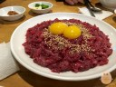 Raw Beef with raw egg. Very raw, but also very tasty.
