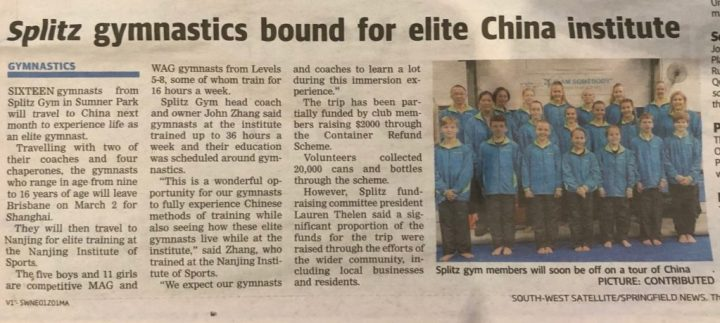 Splitz Gym gymnastics bound for China and train at the Nanjing Institute of Sports