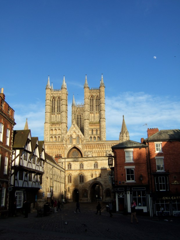 Lincoln Cathedral, the sun and the moon