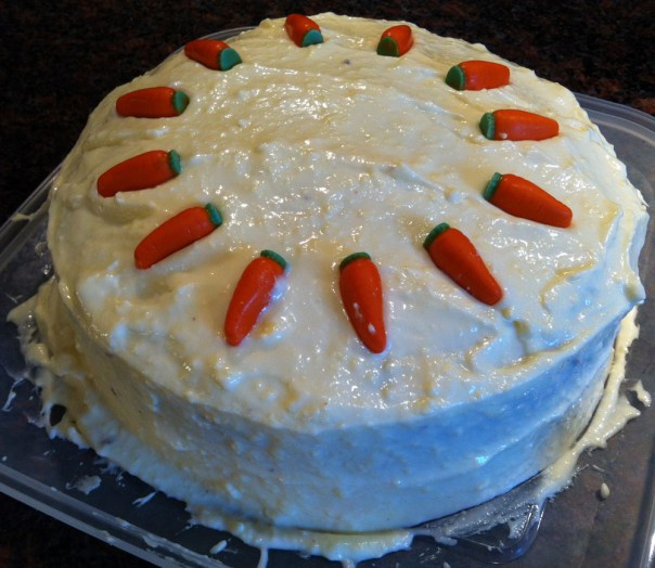 Carrot Cake Iced and Decorated