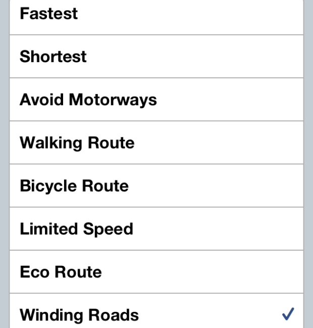 TomTom for iPhone Route Types