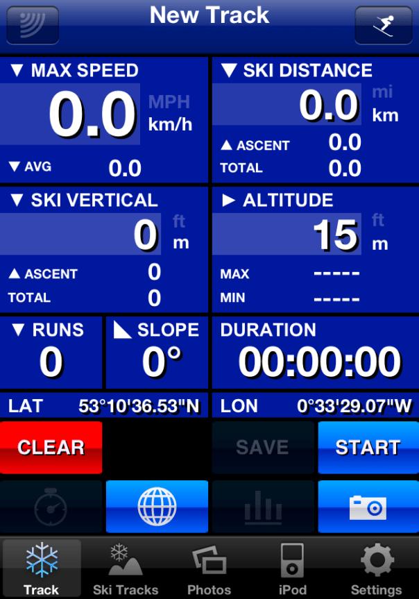 Ski Tracks Start Screen
