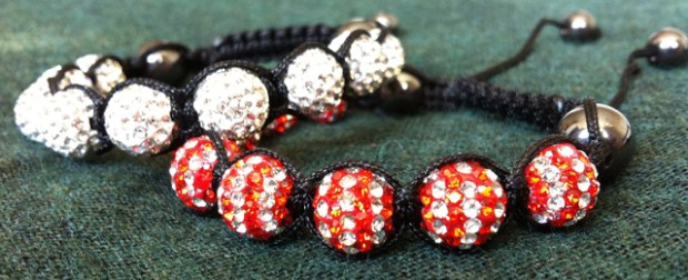Red and White Shamballa Bracelet by Cutey