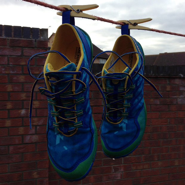 Hanging my Merrells out to dry