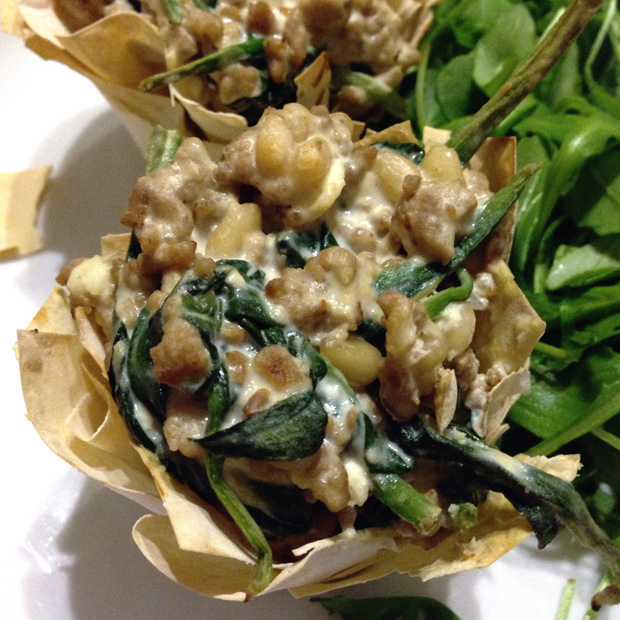 Pork and Spinach Filo Pies - 5 PP Each