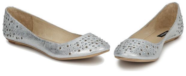 Bronx Silver Flat Shoes