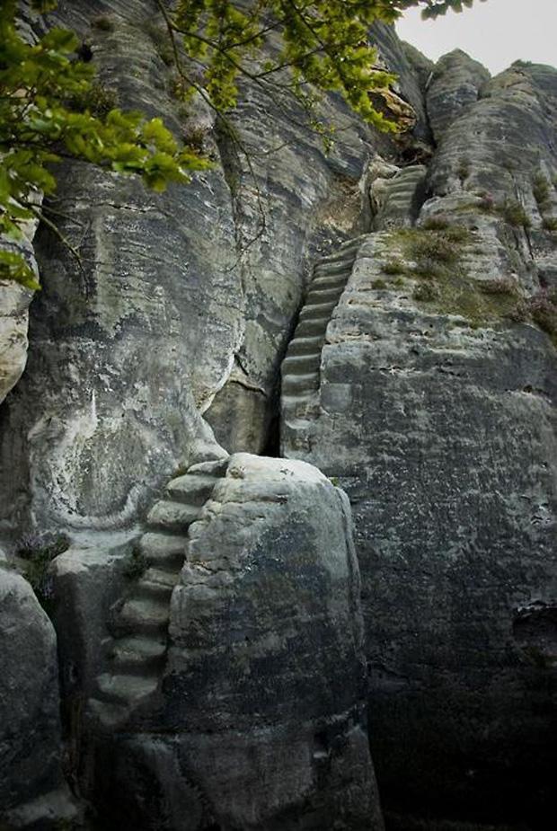 Elbsandsteingebirge stairs in Schsische Schweiz , Germany