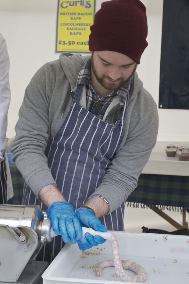 Lincolnshire Sausage Festival, Lincoln Castle - Filling Sausages with Curtis'