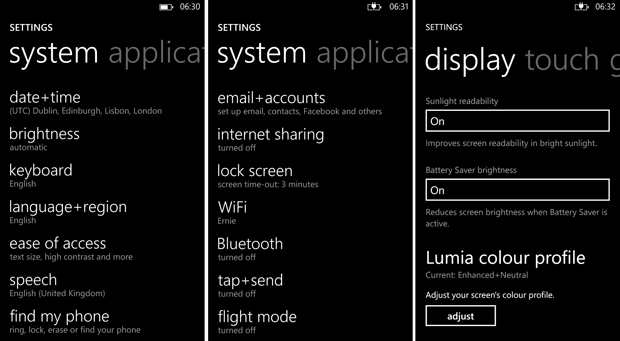 Nokia Lumia 925 Screen Grab - Settings Menu