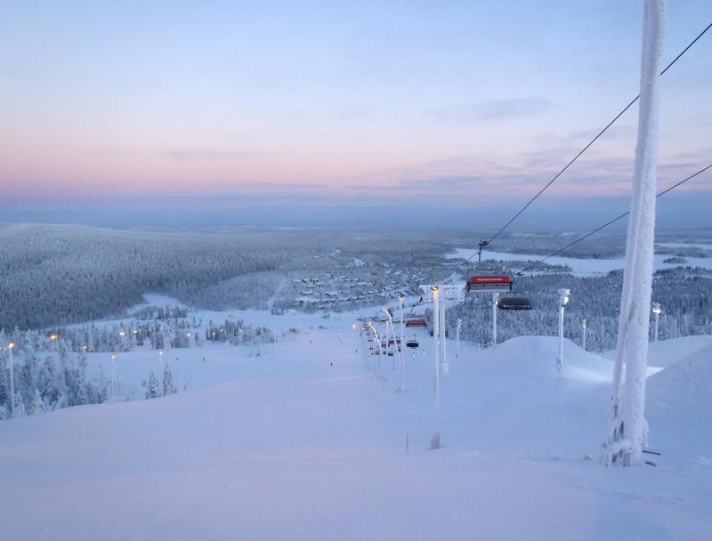17 Jan - The view down the Vuosseli Runs in Ruka, Finland