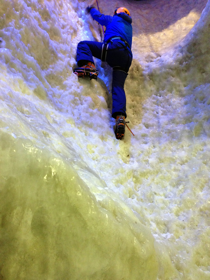 LincsGeek on the Ice Wall at Vertical Chill