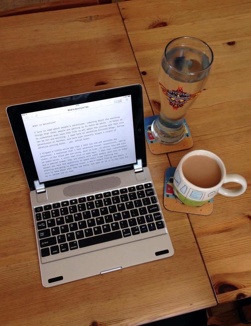 07 July - iPad, Brydge keyboard, Tea, Water