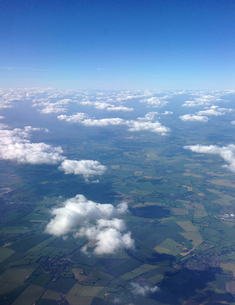View from the plane window over the English countryside
