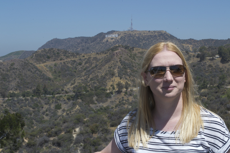 At the Griffith Observatory with the Hollywood Sign in the background