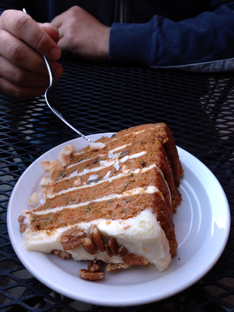 """The World's Greatest Carrot Cake"" at Toomey's, Mammoth Lakes"