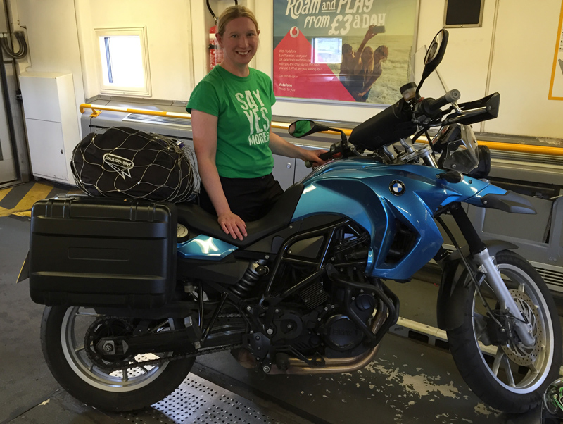 Motorbike Tour of Europe - Zoe on the Train