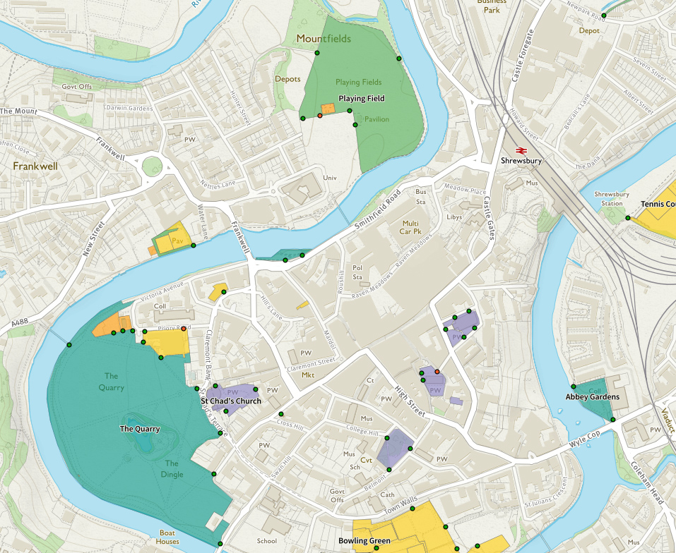 Splodz Blogz   Greenspace Map of Shrewsbury
