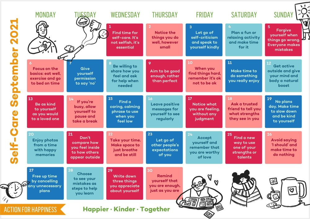 Action for Happiness Self Care September