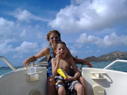 Diane and Peter on a boat in St. Maarten