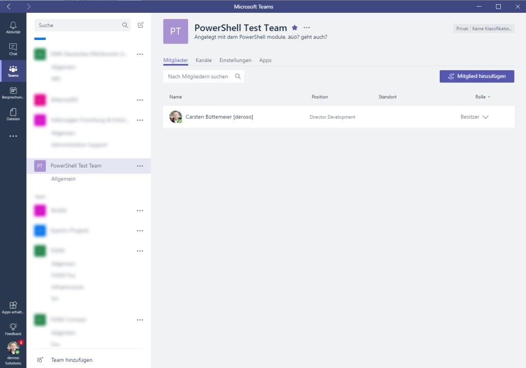 Das Team wurde erstellt, der Account, unter dem der Befehl durchgeführt wurde, hinzugefügt.