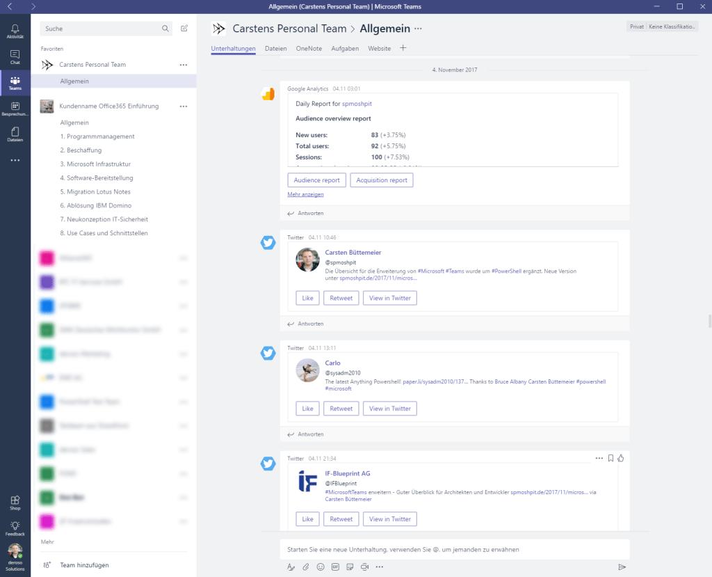 Aggregation von Informationen in einem Teams Kanal