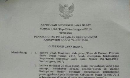 """20 PERUSAHAAN DI KABUPATEN BOGOR """"DIRESTUI"""" MENANGGUHKAN UPAH"""