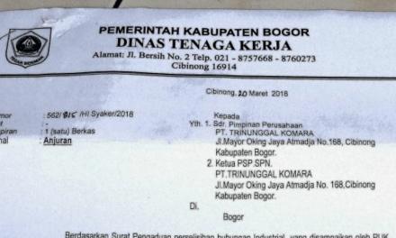 PT TRINUNGGAL KOMARA HARUS MEMBAYAR UPAH SESUAI SK GUBERNUR JAWA BARAT