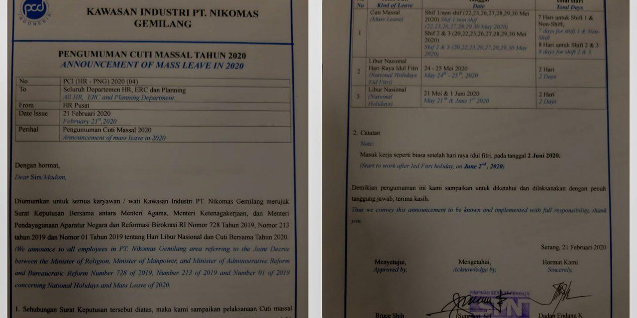 POLEMIK LIBUR LEBARAN DI PT NIKOMAS GEMILANG BERAKHIR